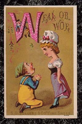 Man Proposes to Woman S D Sollers & Co Fine Shoes Victorian Trade Card Poem