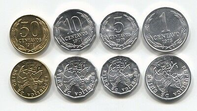 Chile 1 5 10 50 Centavos Km 203-206A 1975-1979 Unc 10 Coin Sets Of 4 = 40 Coins