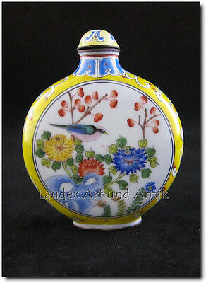 SNUFF BOTTLE AUS CHINA, Kupfer, Handarbeit, bemalt, 7,5 cm [C26544]