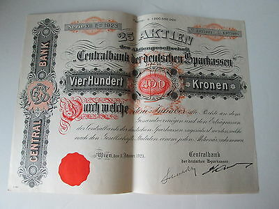 1923 AUSTRIAN BOND (or stocks) WITH COUPONS, Vier Hundert-400-Kronen  #1,977001