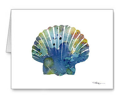 BLUE SEA SHELL SCALLOP note cards by watercolor artist DJ Rogers