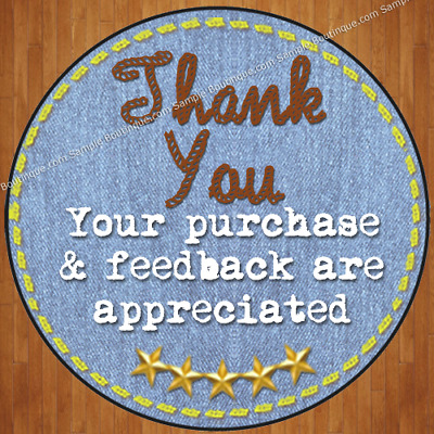 60 Cute eBay Whimsical Vintage Denim Large Round Thank You Label Sticker
