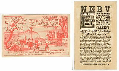 c1880s Carter's Little Nerve Pills trade card - find the objects puzzle