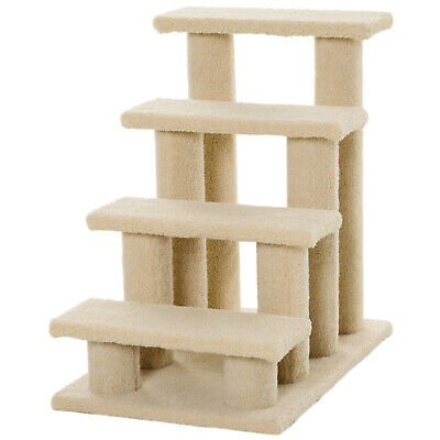 PawHut Pet Stairs 4 Step Wooden Safety Cat Climb Animal Ladder Portable Indoor