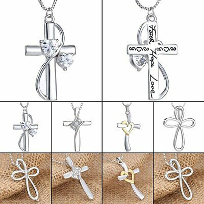 Cross Crystal Women Men Unisex Necklace Pendant Chain Silver Jewellery New Gifts