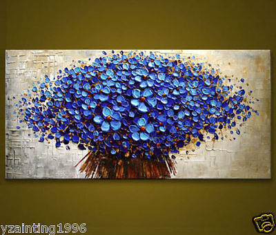 Modern Abstract Huge Canvas Wall Oil Painting:blue tree (NO Framed)
