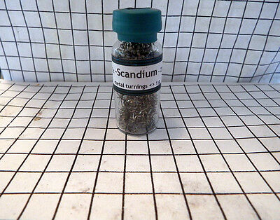 SCANDIUM Pure Metal Turnings Reference Sample  in sealed vial    1 gram