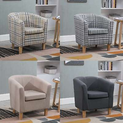 FoxHunter Linen Fabric Tub Chair Armchair Dining Living Room Lounge Office TC03