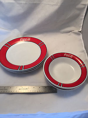 "Lot of 6 Coca-Cola Coke Gibson Dishes 3 Plates 10.5"" and 3 Bowls 8"" Diameter"
