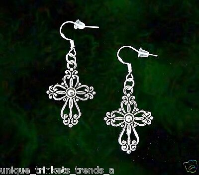 Celtic Irish Cross Silver Dangle Earrings~St Patricks Day Gift~Sterling Hook