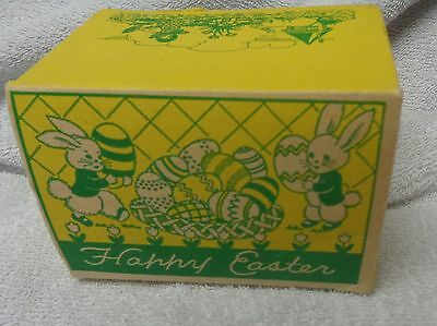 Vintage Happy Easter Yellow And Green Graphics Paper Box