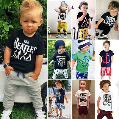 2pcs Toddler Baby Boy Kids T-shirt Top+Pants Trousers Outfit Sets Casual Clothes