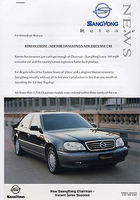SsangYong Chairman Executive Car Press Release/Photographs - 1998