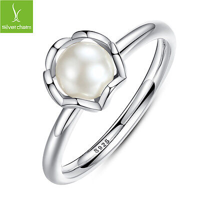2016Authentic 925 Sterling Silver Rings With White Luxury Cultured Pearl Jewelry
