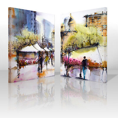 Spring Streetscape Framed Canvas Print Abstract Wall Art Painting Picture Decor