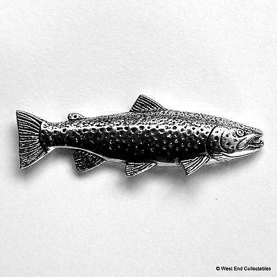 Wild Brown Trout Fish Pewter Pin Brooch - UK Made - Fly Fishing Angling Gift