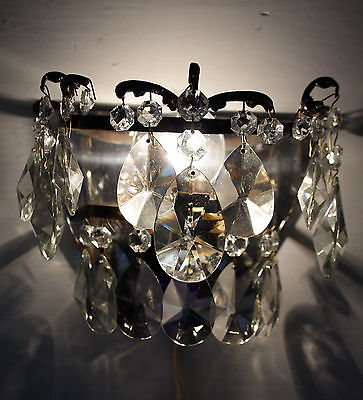 Antique // Vintage Brass & Crystals Chandelier  Wall Sconce from 1950's
