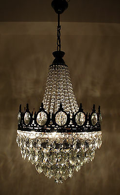 Antique French Basket Style Brass & Crystals LARGE Bronze Tone Chandelier 1950's