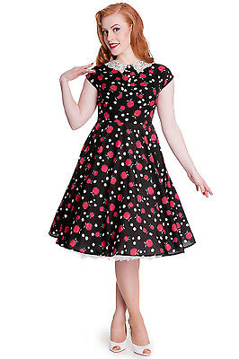 f6499d1d90a09c Hell Bunny Francine Pin Up Tattoo 50'S Retro Swing Black Dress Rockabilly  4323