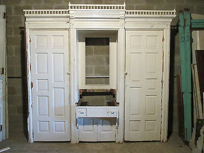 ~ANTIQUE OAK BUILT IN CLOSET FRONT BUTLERS PANTRY ARMOIRE 104 x 99 SALVAGE ~
