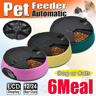 New 6 Meal/day Digital LCD Automatic Pet Feeder Dog Cat Food Auto Dispenser Bowl