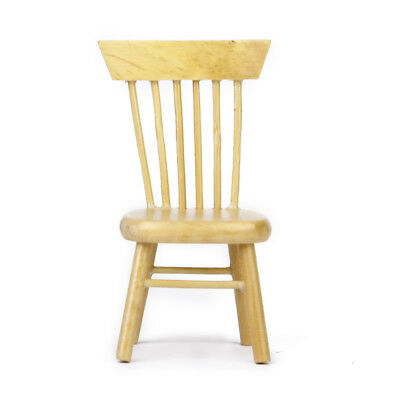 1/12th Miniature Vintage Natural Wooden Chair for Dolls House Furniture