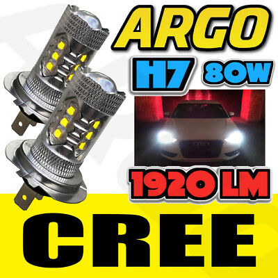 2x BMW H7 499 CREE LED 80W PROJECTOR BULB WHITE DAYTIME HEAD LIGHT HIGH BEAM FOG