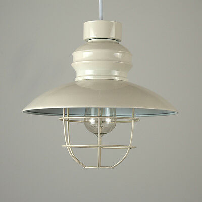 Contemporary Industrial Gloss Cream Fishermans Caged Ceiling Pendant Light Shade