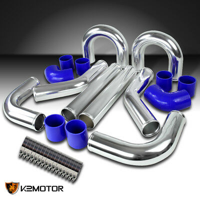 "2.5"" Aluminum FMIC Turbo Intercooler Piping Kit+Blue Elbow Hose+Bolt Clamps"