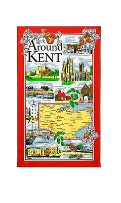 Around Kent Tea Towel Souvenir Gift Map Scenes Places Dover Leeds Castle Red
