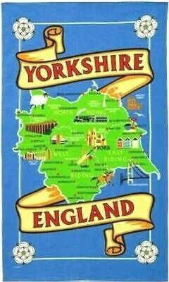 Yorkshire Map Tea Towel Souvenir Gift Ridings Whitby Abbey Dales York Minster