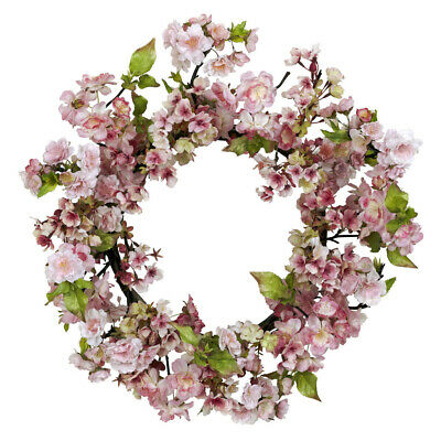 "New Large 24"" Artificial Pink Cherry Blossom Silk Fake Flower Wreath - Nn4780"