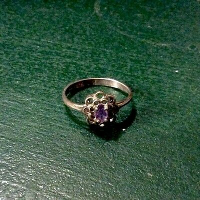Vintage Estate Jewelry Signed 925 Purple Untested Stone Other Marking Old Ring 7