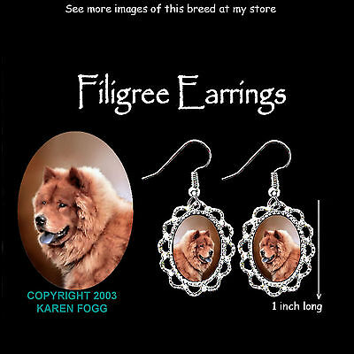 CHOW CHOW DOG Red - SILVER FILIGREE EARRINGS Jewelry