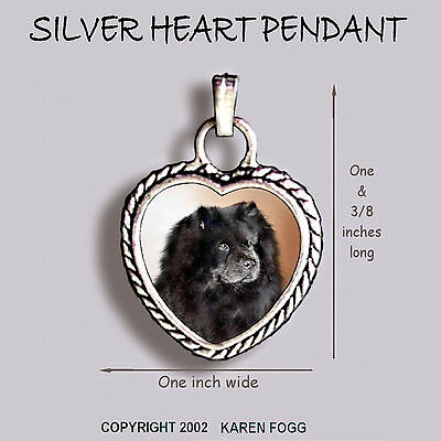 CHOW CHOW DOG Black - Ornate HEART PENDANT Tibetan Silver