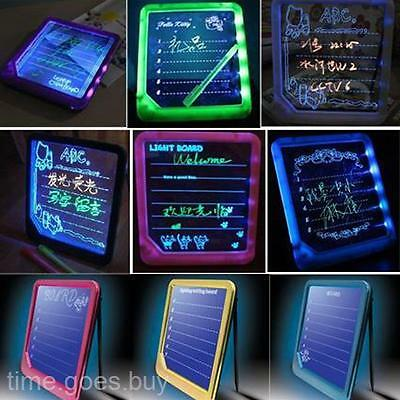 LED Light Fluoresce Writing Drawing Message Note Holder Board With A Highlighter