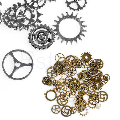 A Pack 100g Mix Alloy Mechanical Steampunk Cogs & Gears Diy Accessories New