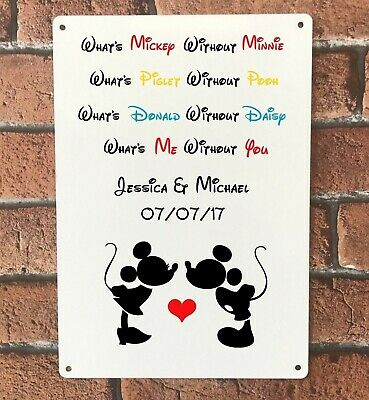 Personalised Disney What's Mickey Without Minnie Sign Handmade Shabby Vintage