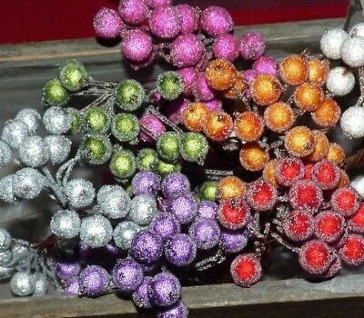 Double Headed Stem Of Artificial Frosted Berries #Crafts/Flower/Cake Decorating