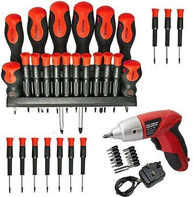 Spares2go 84 Piece Cordless Rechargeable Magnetic and Precision Screwdriver /& Bit Tool Set