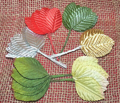 Terylene Artificial Leaves - Greens/Silver/Gold/Red # Crafts/Flower Decorating