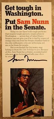 1972 Georgia Democrat Sam Nunn signed/autographed First run for Senate brochure!