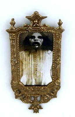 Dolls House Miniature Accessory Bronze Ornate Framed Rectangular Ghost Mirror