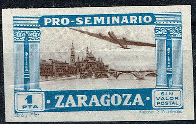Spain Zaragoza Civil War Aircraft over famous Architecture stamp 1936 MLH