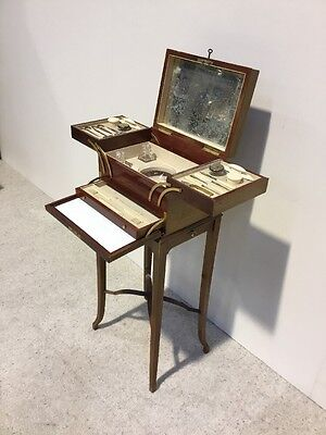 Antique Victorian Edwardian Inlaid Mahogany Ladies Manicure Set Fold Out Rare