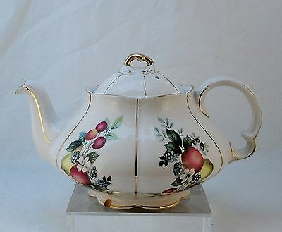 ELLGREAVE IRONSTONE TEAPOT CRAZED Fruit & Flowers England Gilded Lines Lid Flaw