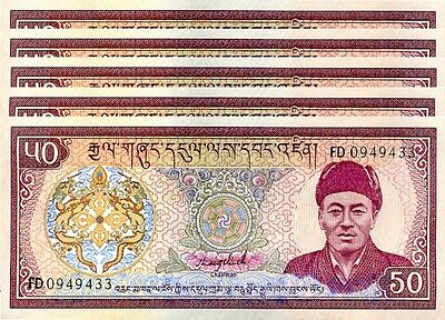 Bhutan 50 Ngultrum 1992 Unc- Lot 5 Pcs  P.17