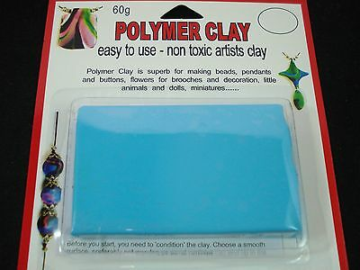 Modelling Polymer Clay Art/Craft Oven Bake 60g Light Blue Doll Pin FREE POSTAGE