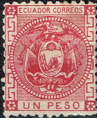 Ecuador Country Coat of Arms Eagle Flags classic stamp 1872 MLH