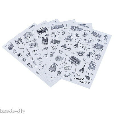 BD 1Set(6PCs)  World scenic Travel Journey Diary Stickers PVC Black Home Decor